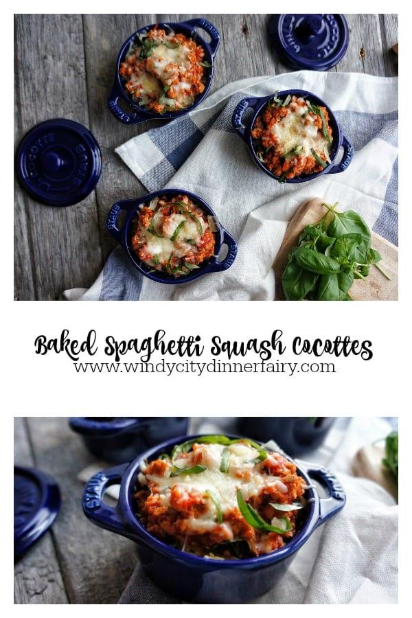Spaghetti squash bolognese in mini cocottes