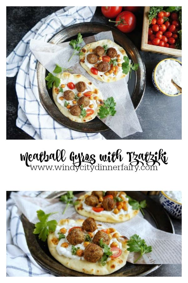 Meatball Gyros with Tzatziki | Serve these with simple cucumber tomato salad and creamy tzatziki sauce for a perfect lunch!