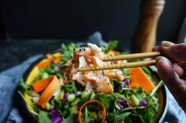 This Arugula Salad withSesame Salmon is a light salad, full of diverse flavors and textures in every bite.