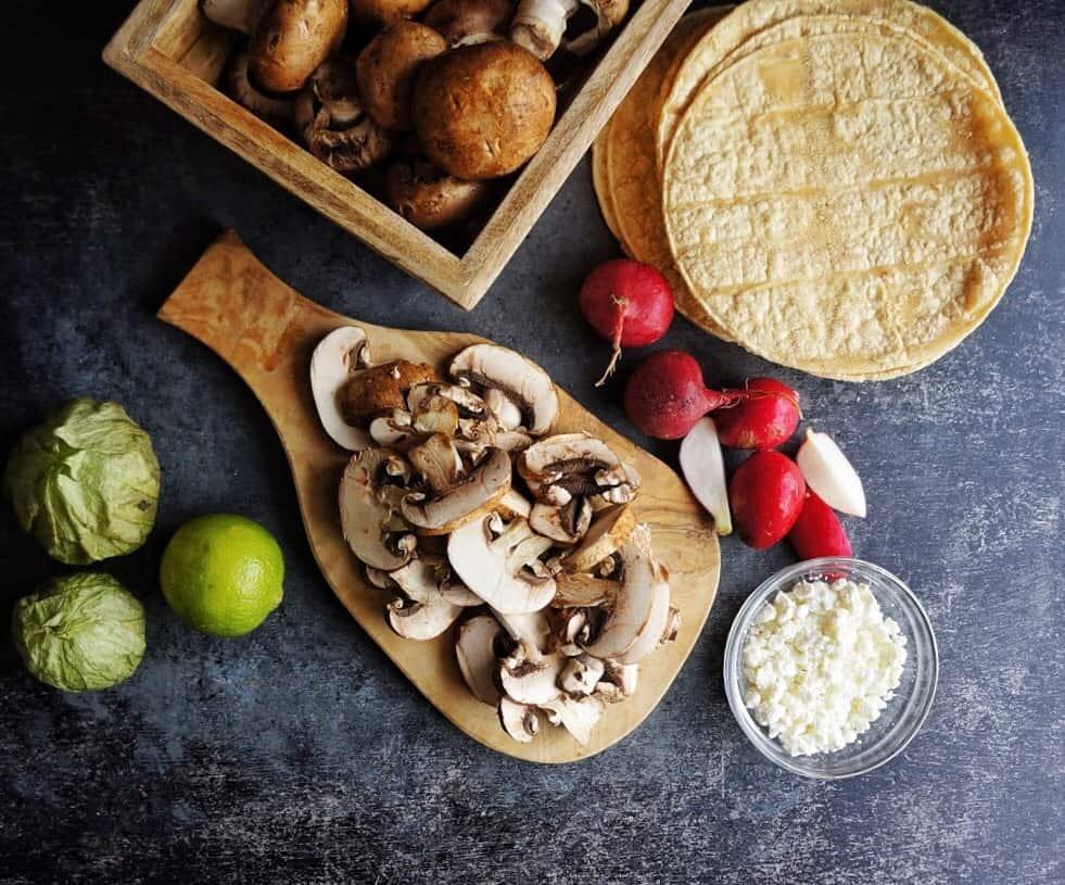 Ingredients for portobello mushroom tacos