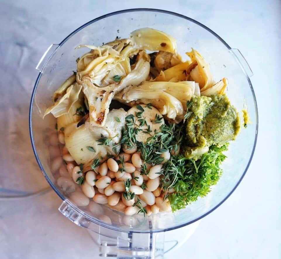 Parmesan Artichoke + White Bean Dip Ingredients in food processor
