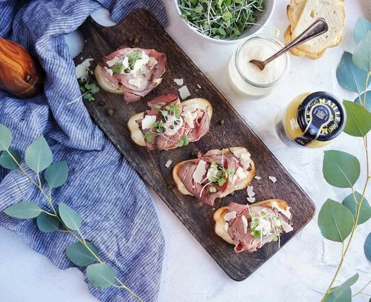 Roast Beef Crostini on serving platter overhead