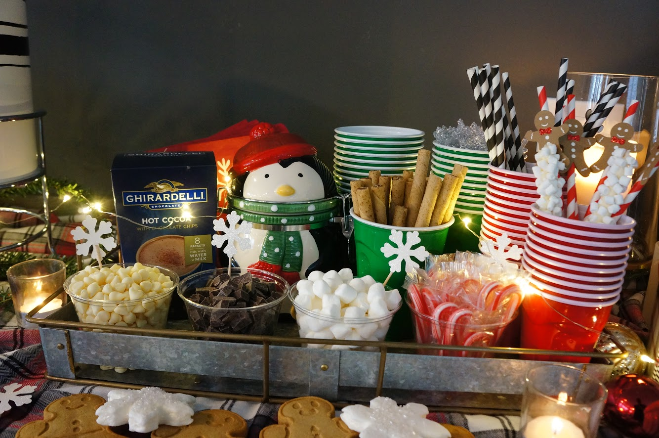 hot cocoa bar toppings displayed