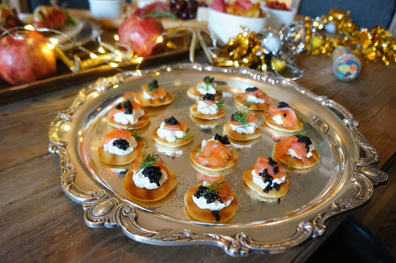 blinis with creme fraiche and caviar