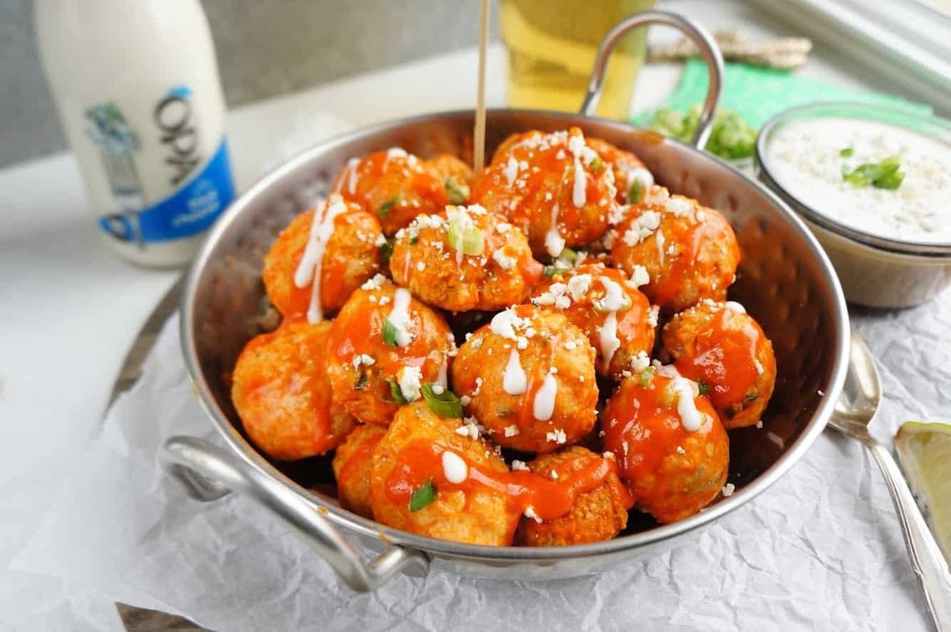 buffalo chicken meatballs in serving dish
