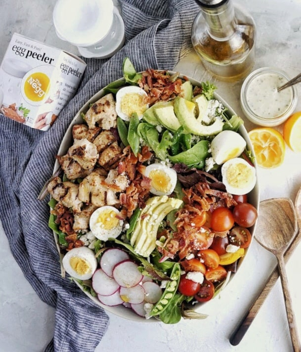 Cobb Salad with Avocado Vinaigrette plated