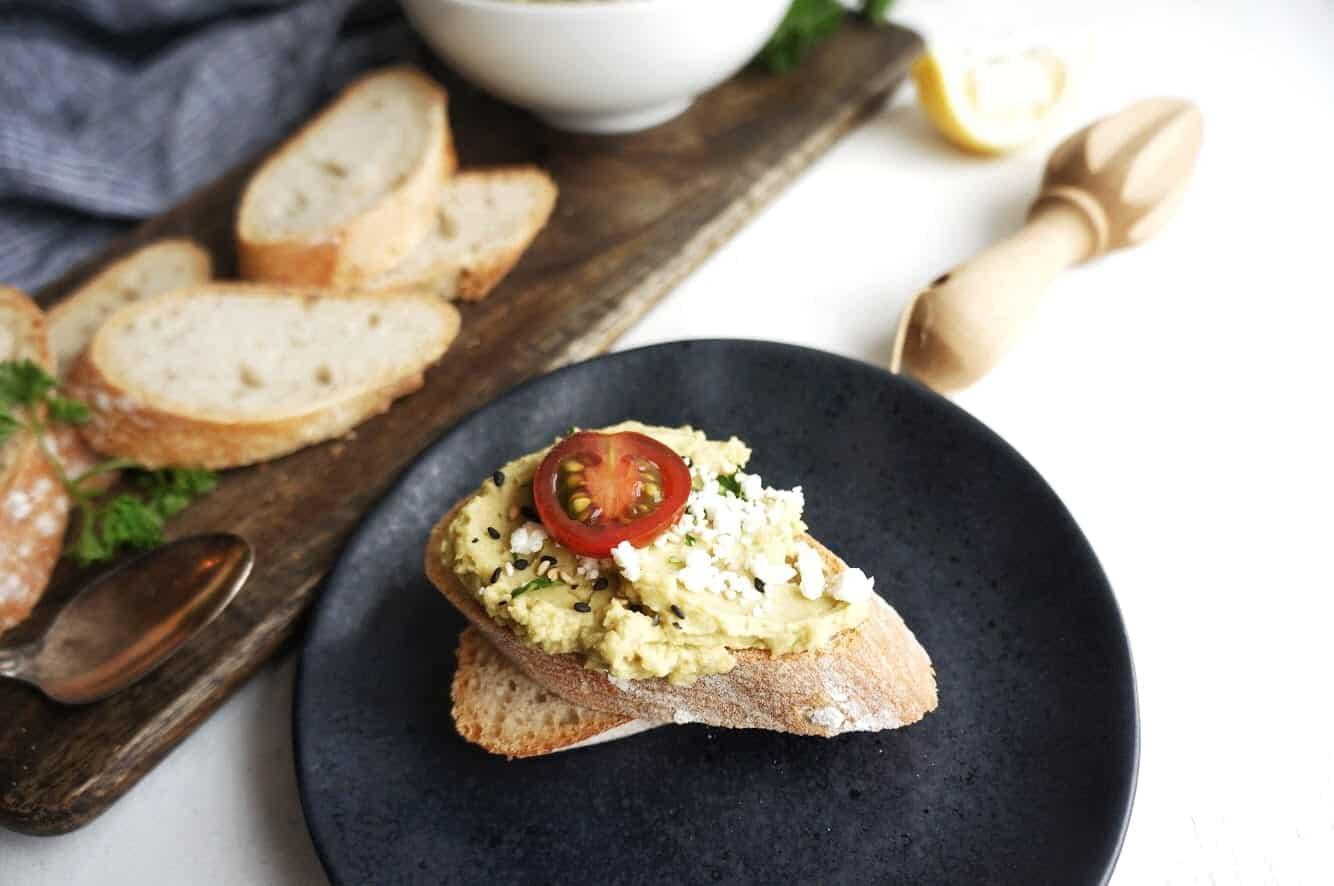 split pea hummus on toast with toppings