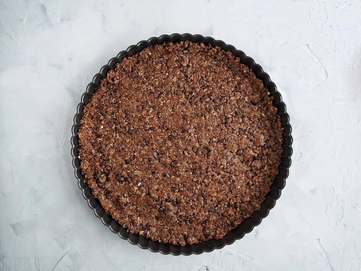gluten free and vegan double chocolate tart crust baked