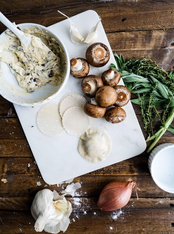 prepping ingredients for Mushroom Raviolis