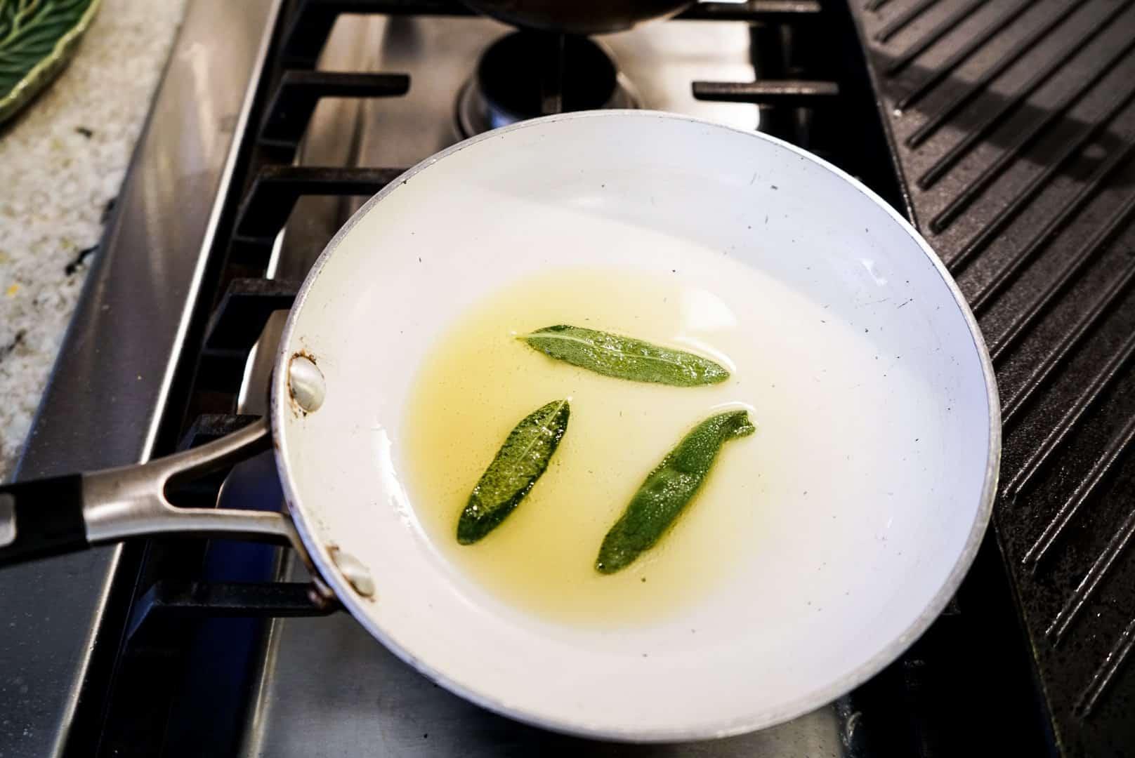 frying sage in frying pan
