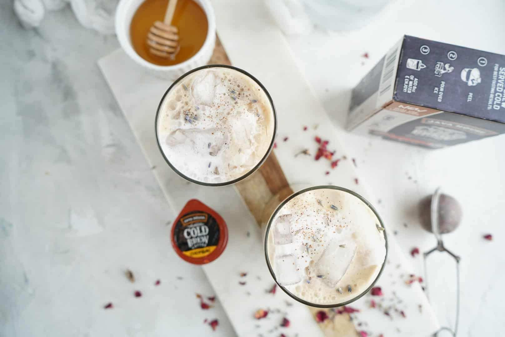 Iced Lavender Cold Brew Lattes from above
