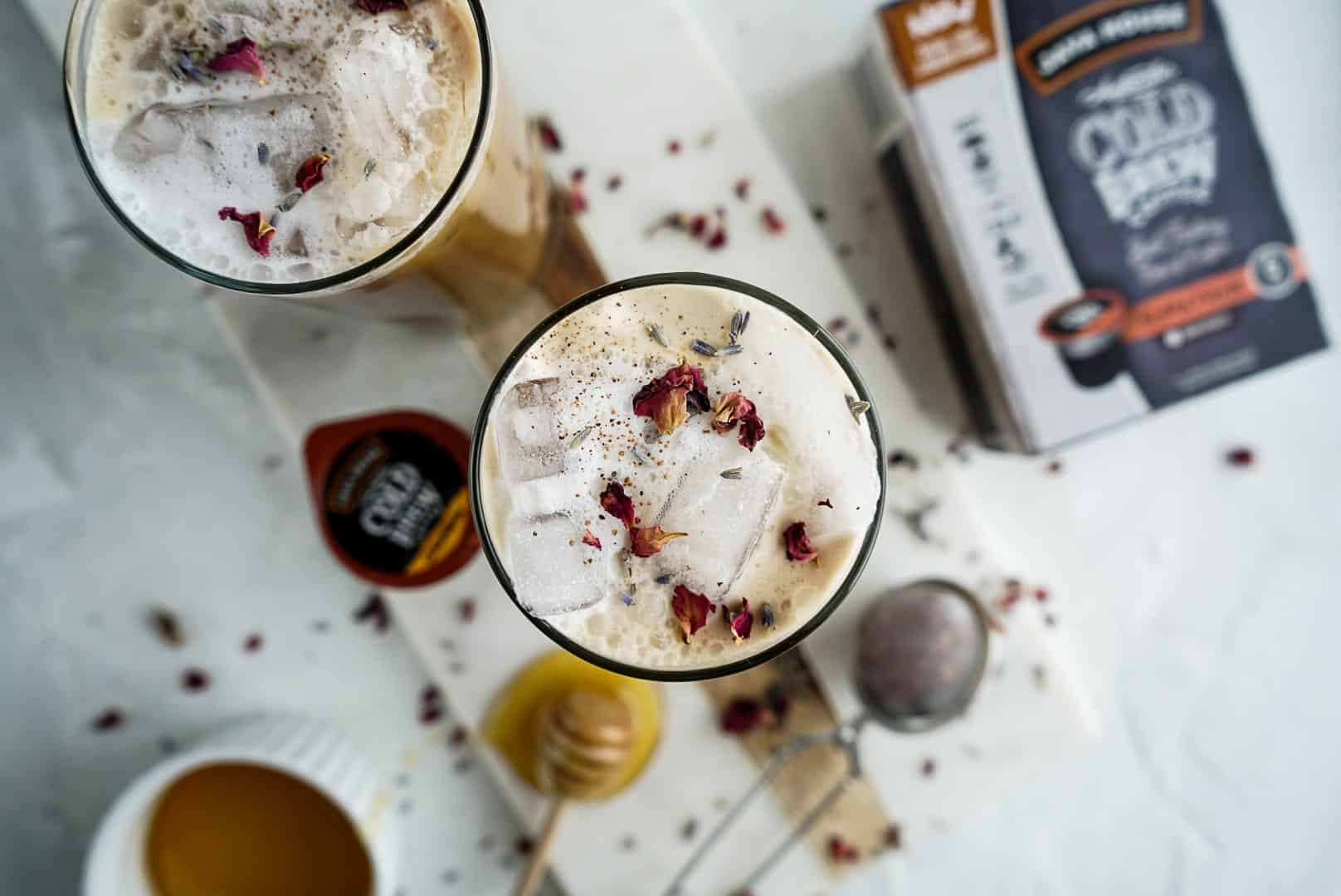 Iced Lavender Cold Brew Latte from above