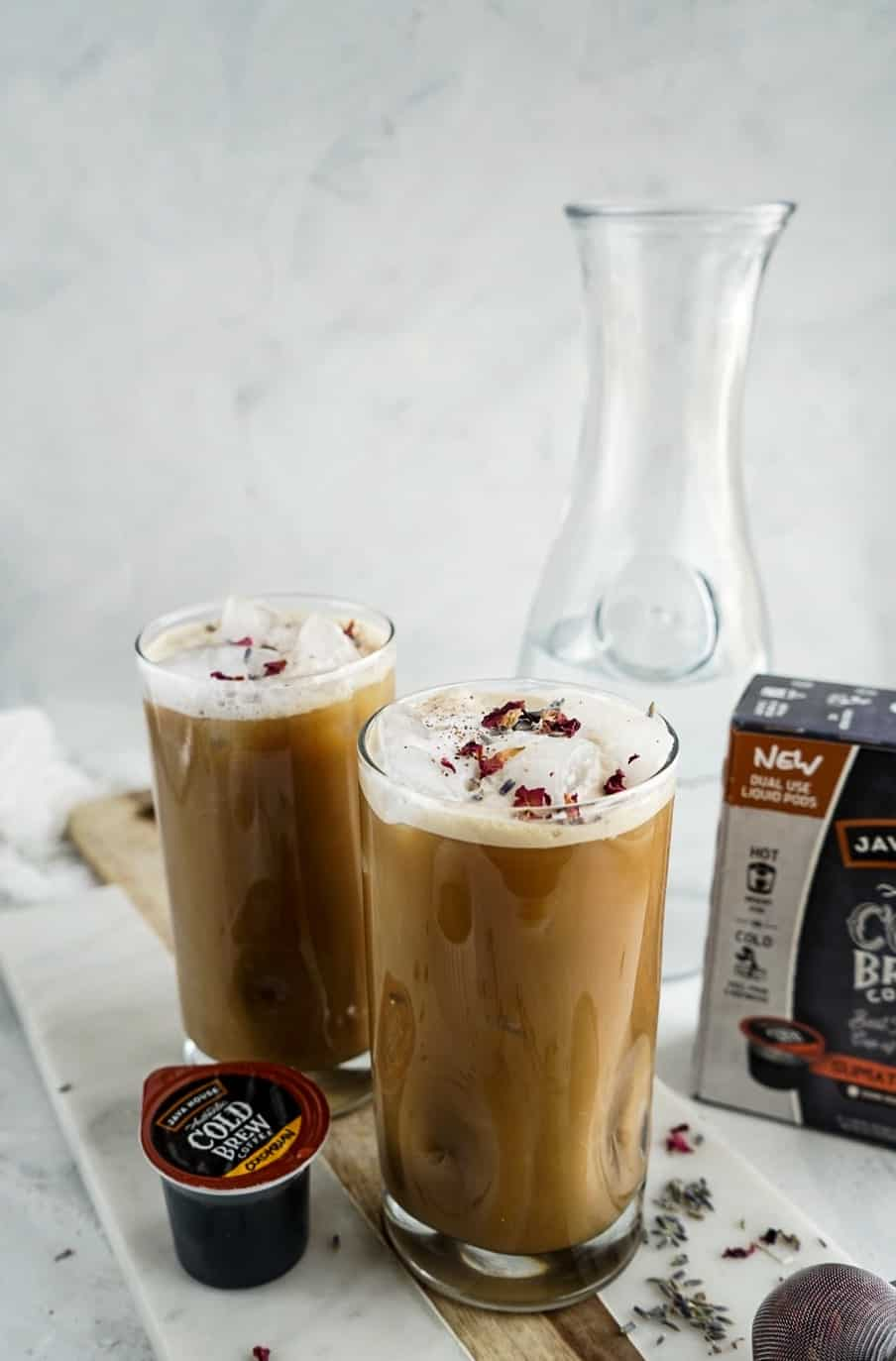 Iced Lavender Cold Brew Latte from the side