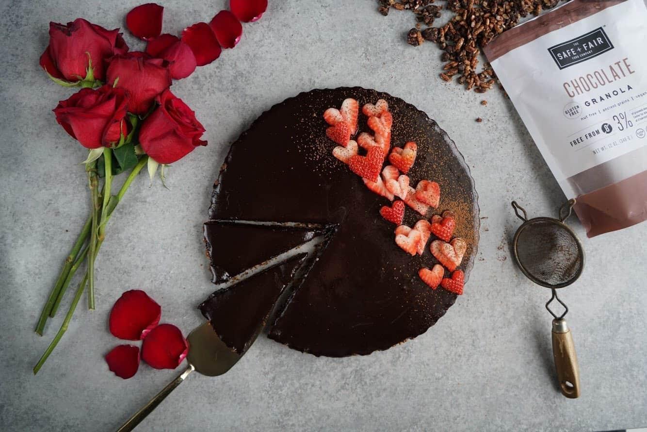 gluten free and vegan double chocolate tart sliced