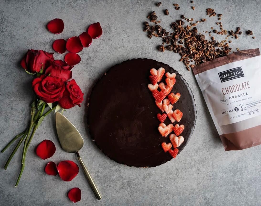 gluten free and vegan double chocolate tart with roses and granola