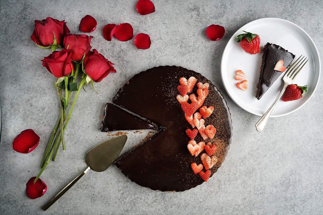 gluten free and vegan double chocolate tart plated