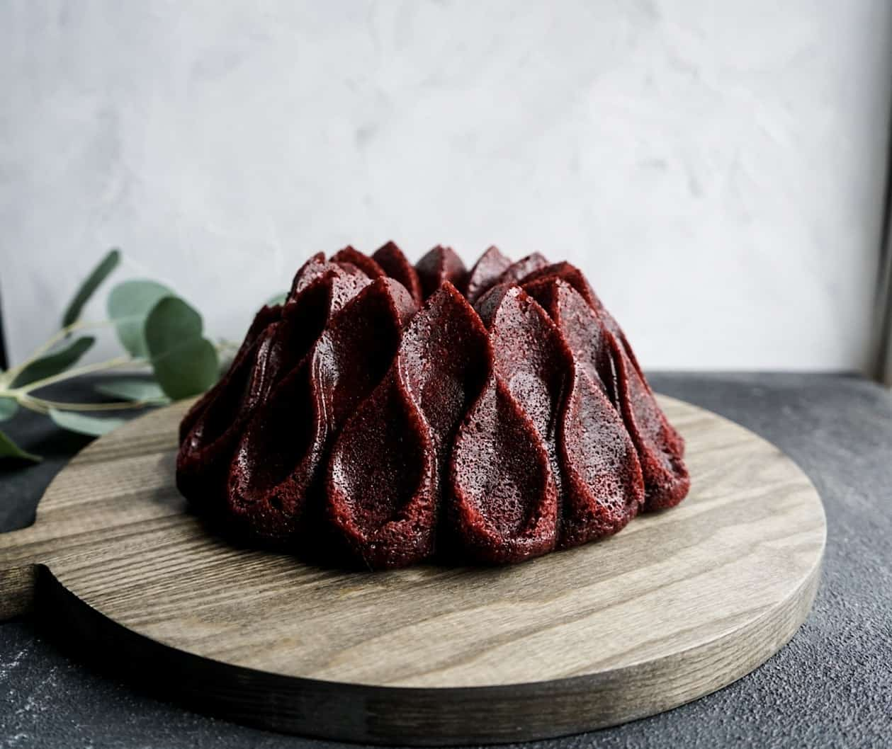 red velvet cream cheese bundt cake baked and removed from pan