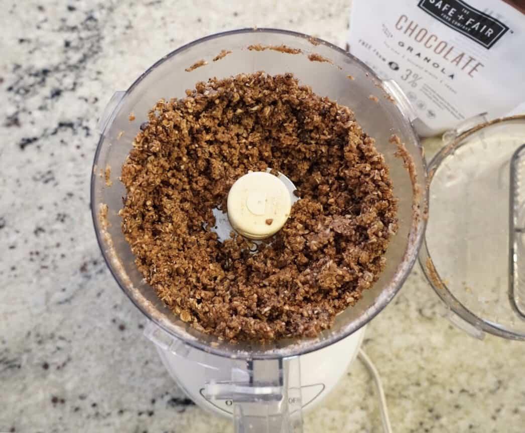 gluten free and vegan double chocolate tart crust in food processor