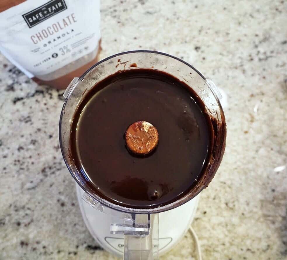 gluten free and vegan double chocolate tart filling in food processor