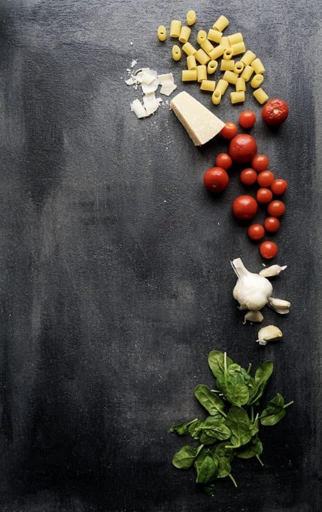 Pasta dish ingredients on board