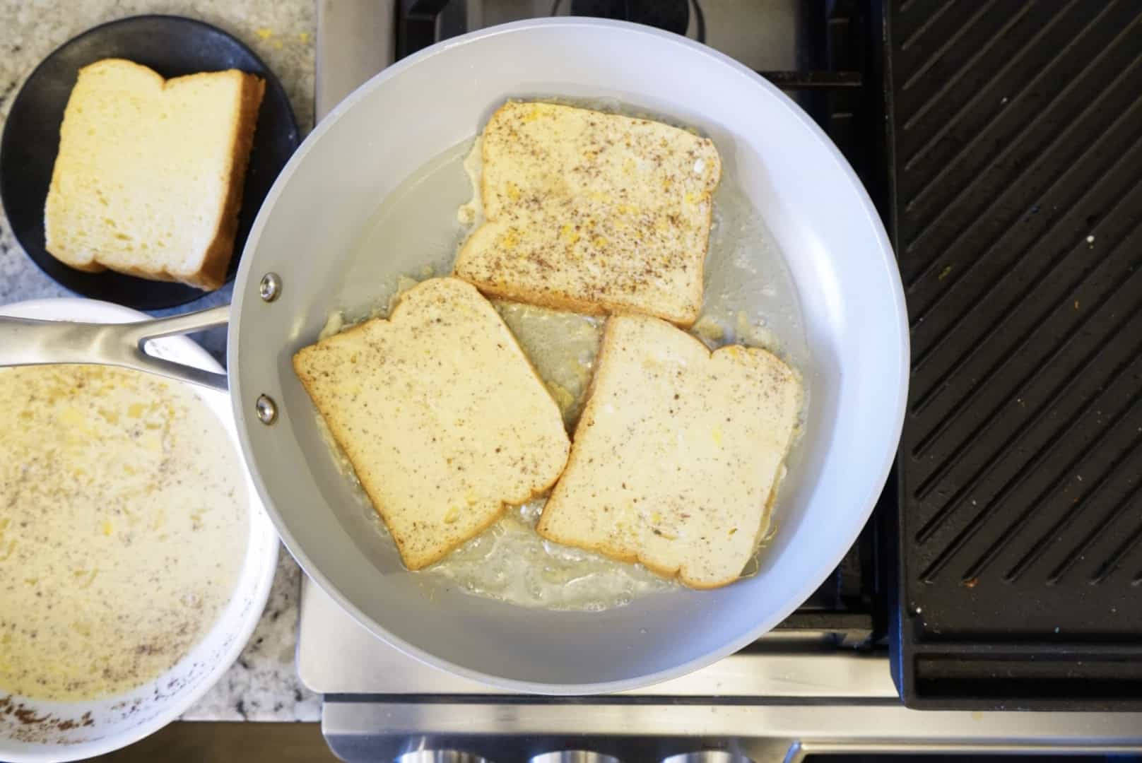 Brioche French Toast in frying pan
