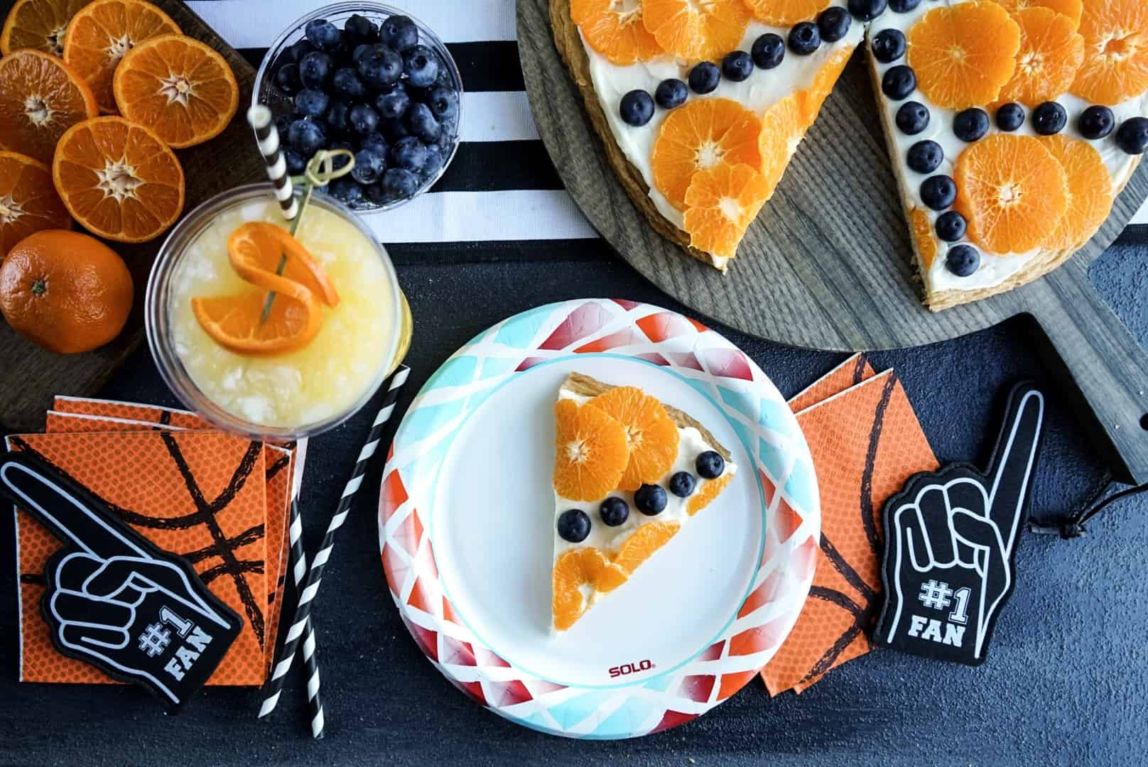 basketball fruit pizza slice on solo plate