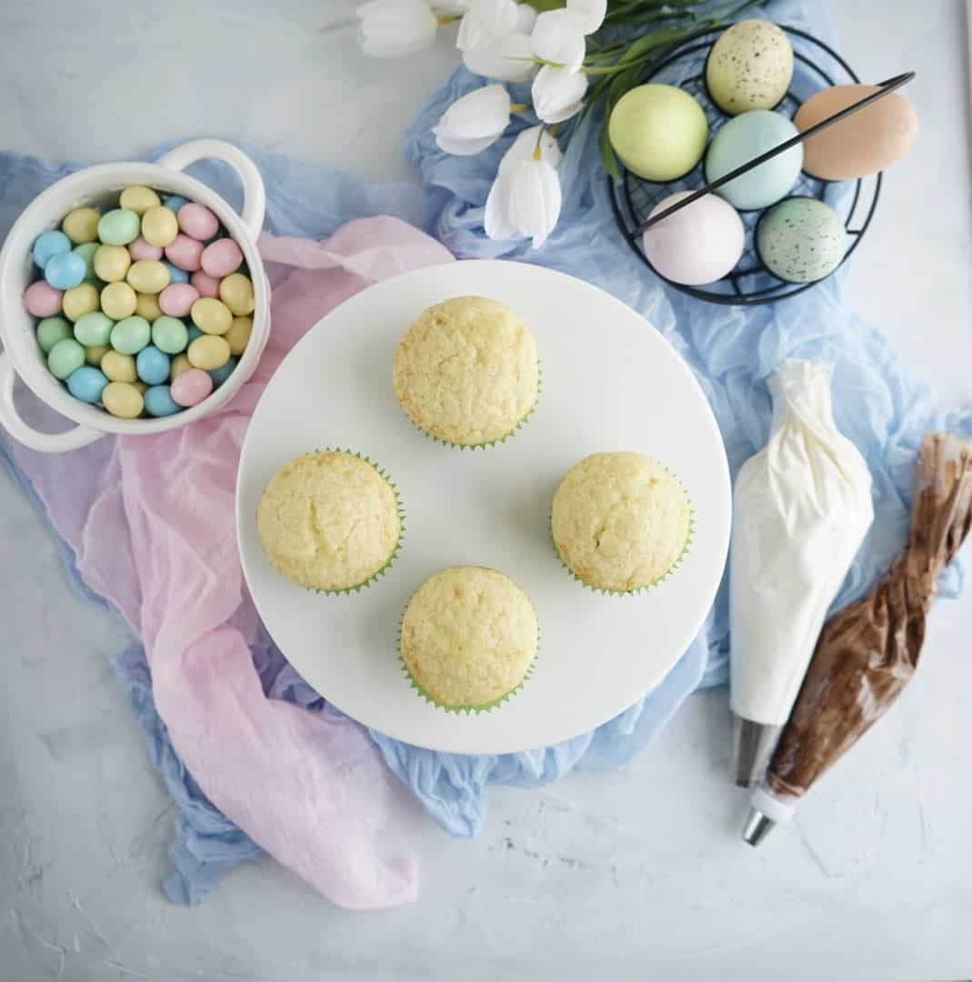 unfrosted Easter egg cupcakes
