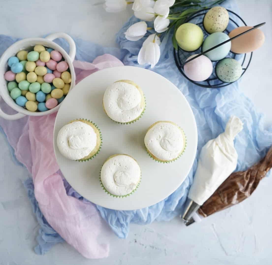 Vanilla buttercream on Easter egg cupcakes