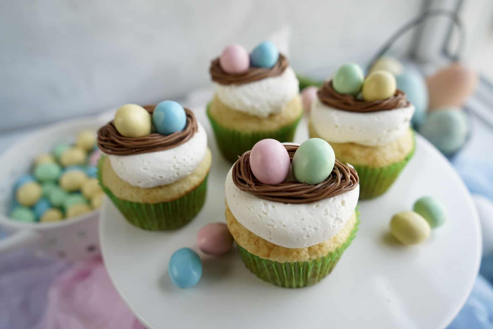 Easter egg cupcakes on cake stand
