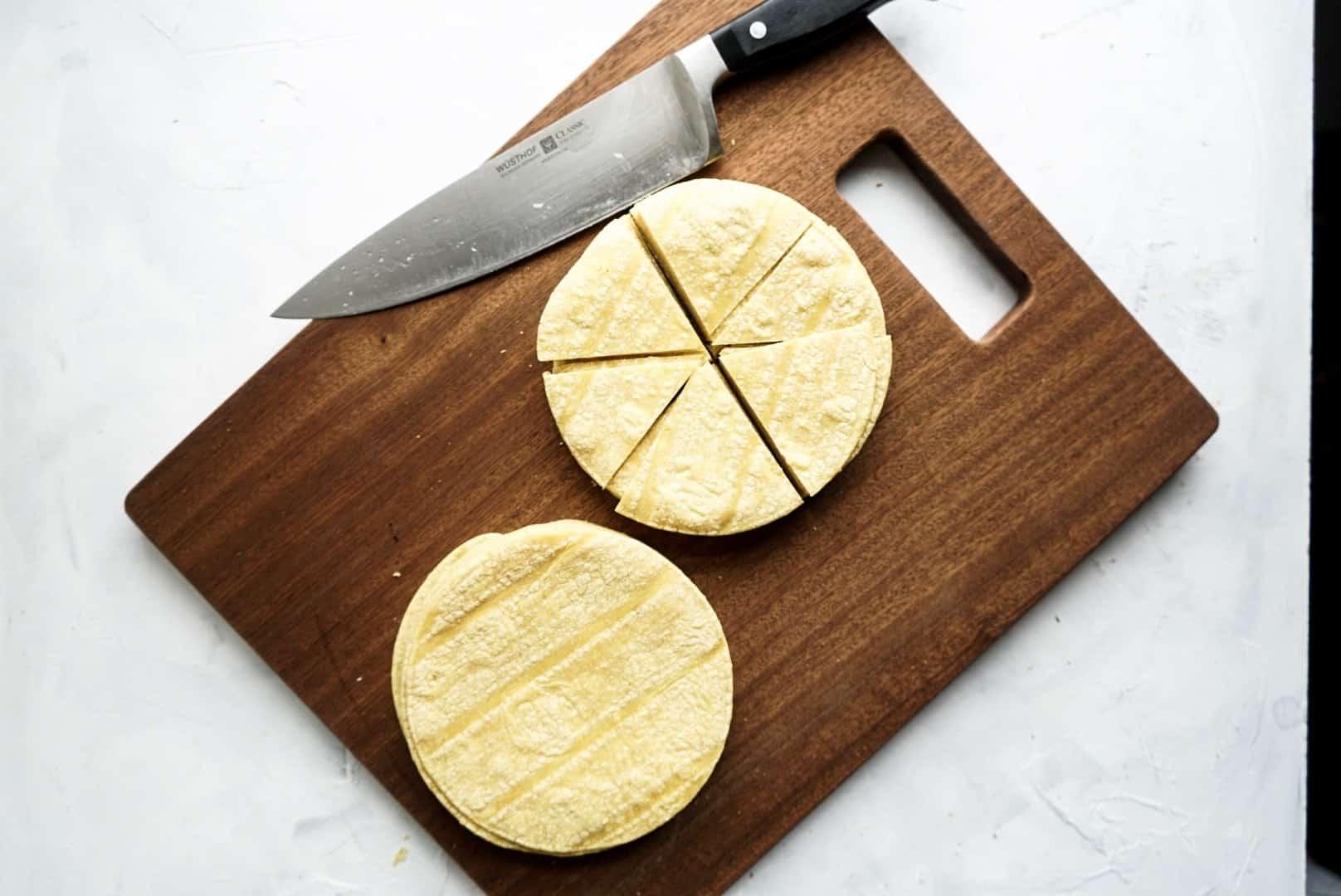 tortillas sliced for frying