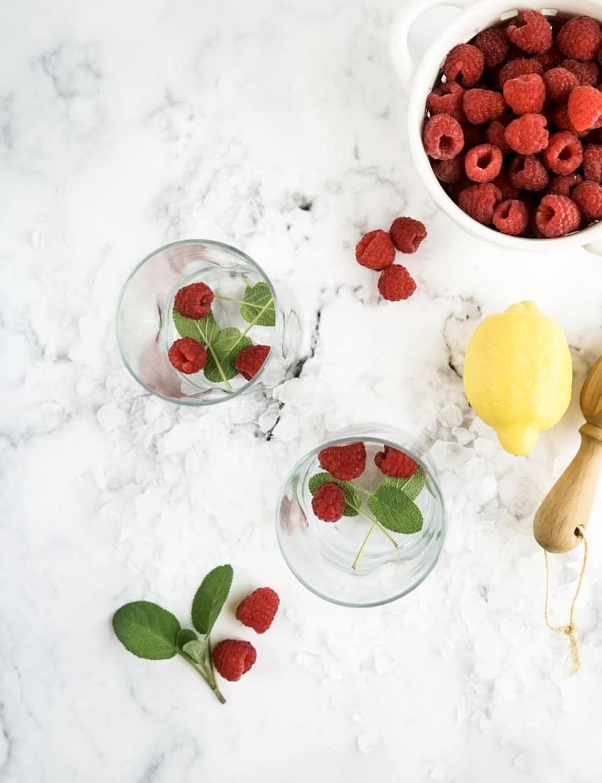 Raspberry Lemon + Herb Smash Cocktail