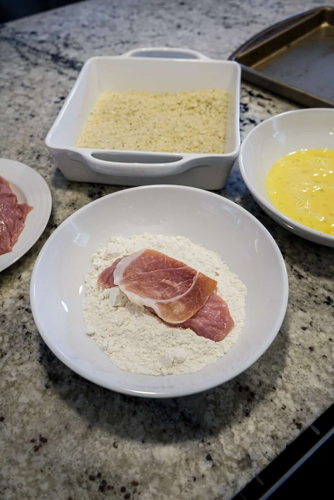 breading station for saltimbocca milanese