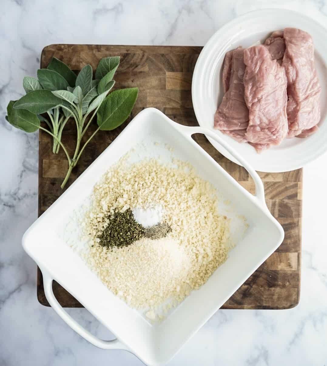 saltimbocca milanese ingredients on cutting board