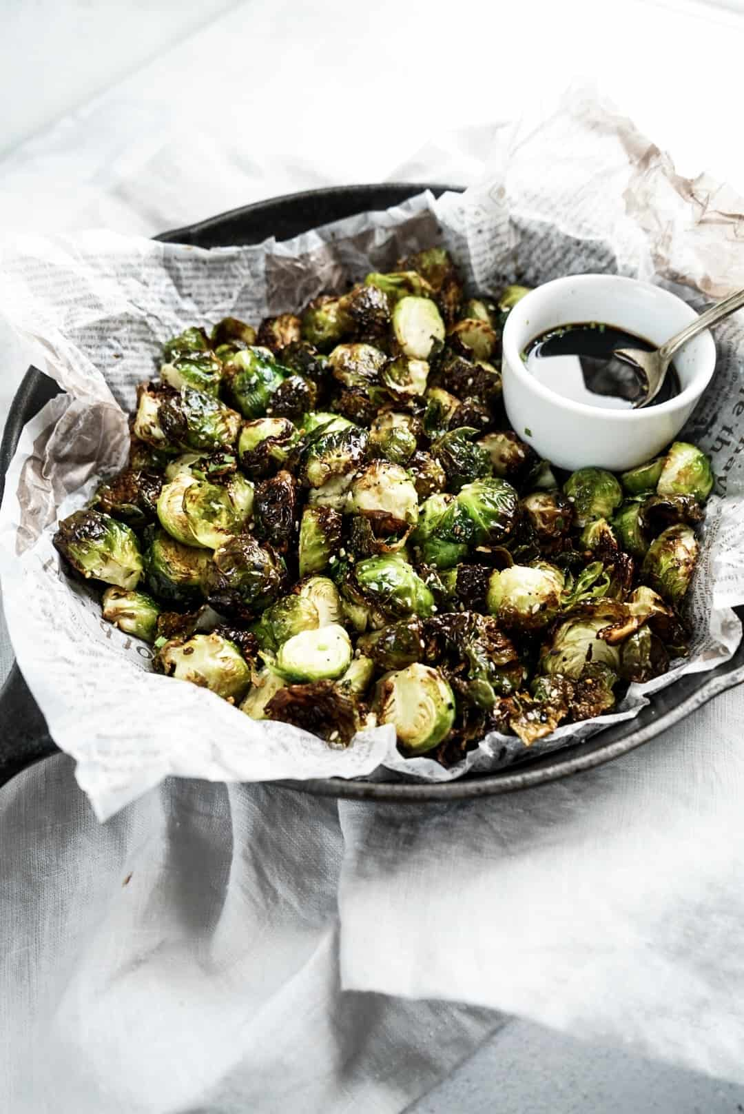 Crispy Air Fryer Asian Brussels Sprouts in pan