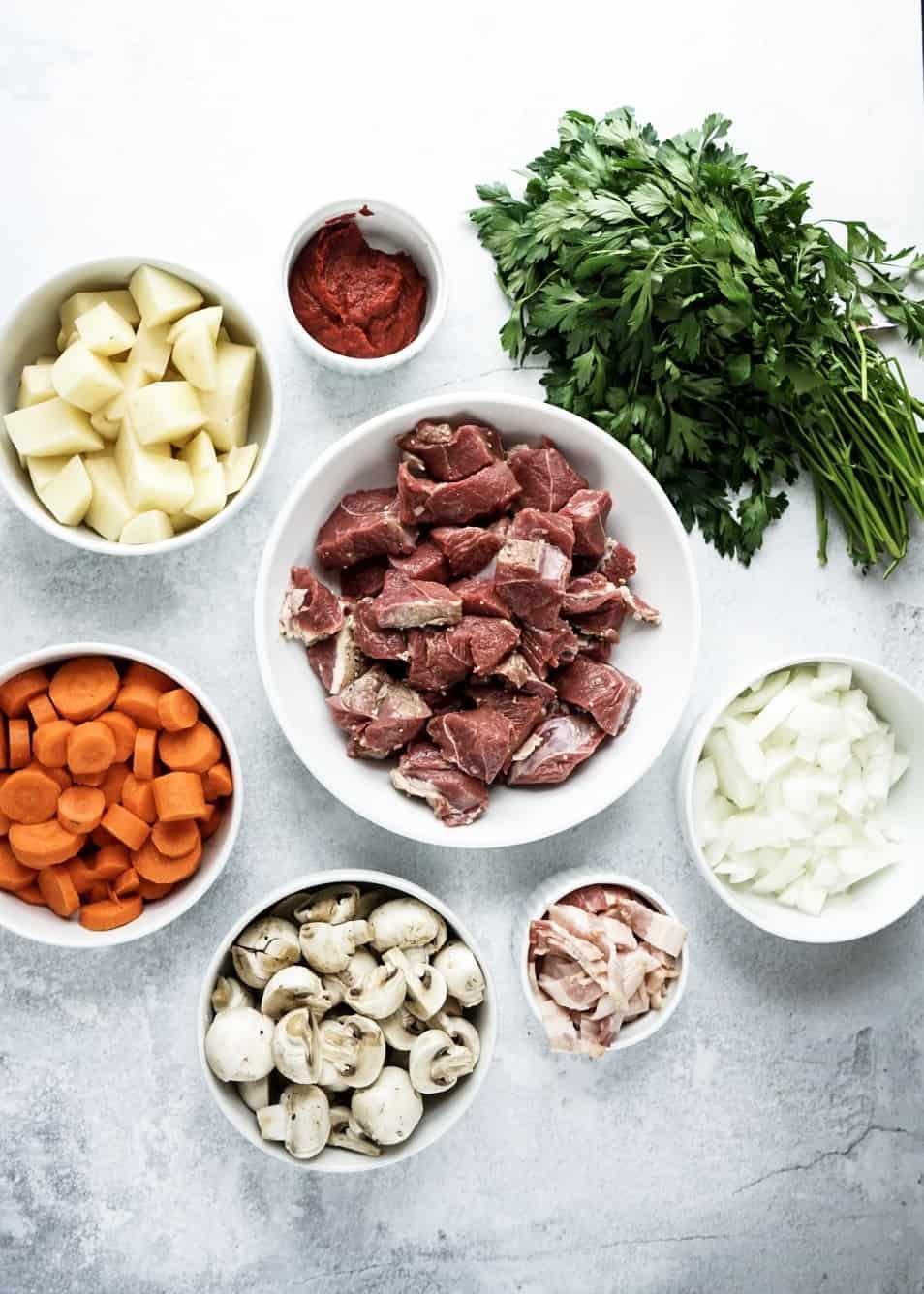 Instantpot Lamb Stew ingredients in bowls
