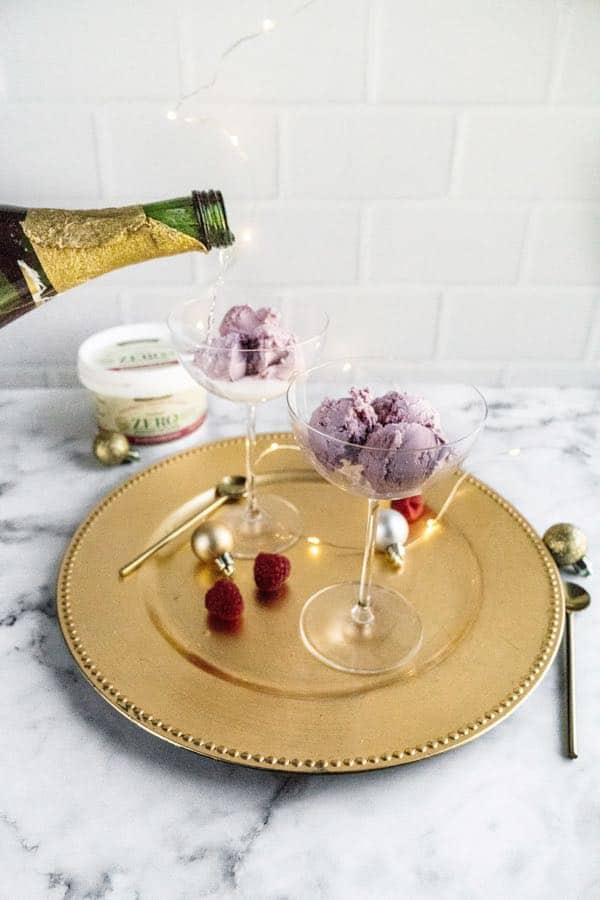 pouring champagne in glass with ice cream