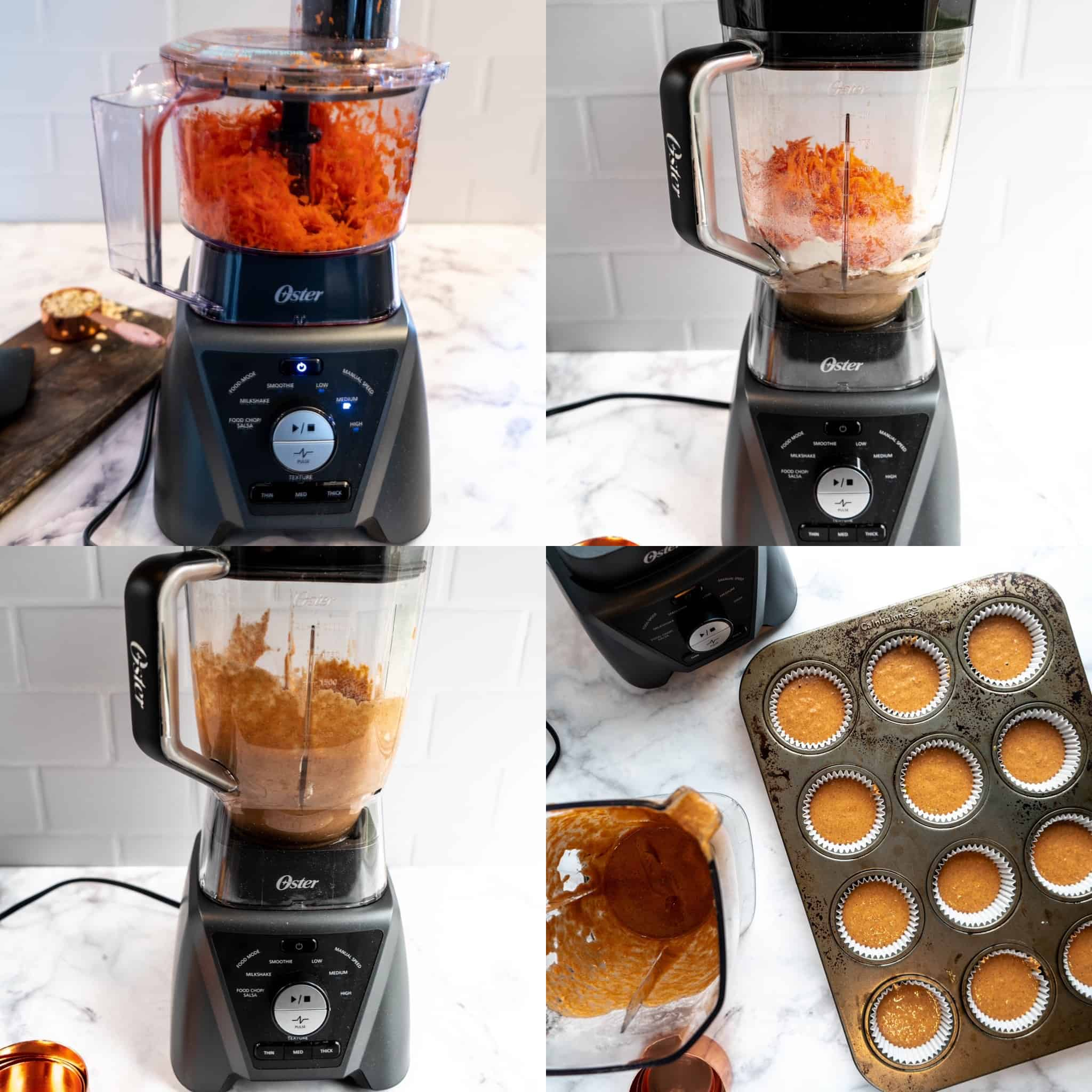 process shots for healthy carrot blender muffins