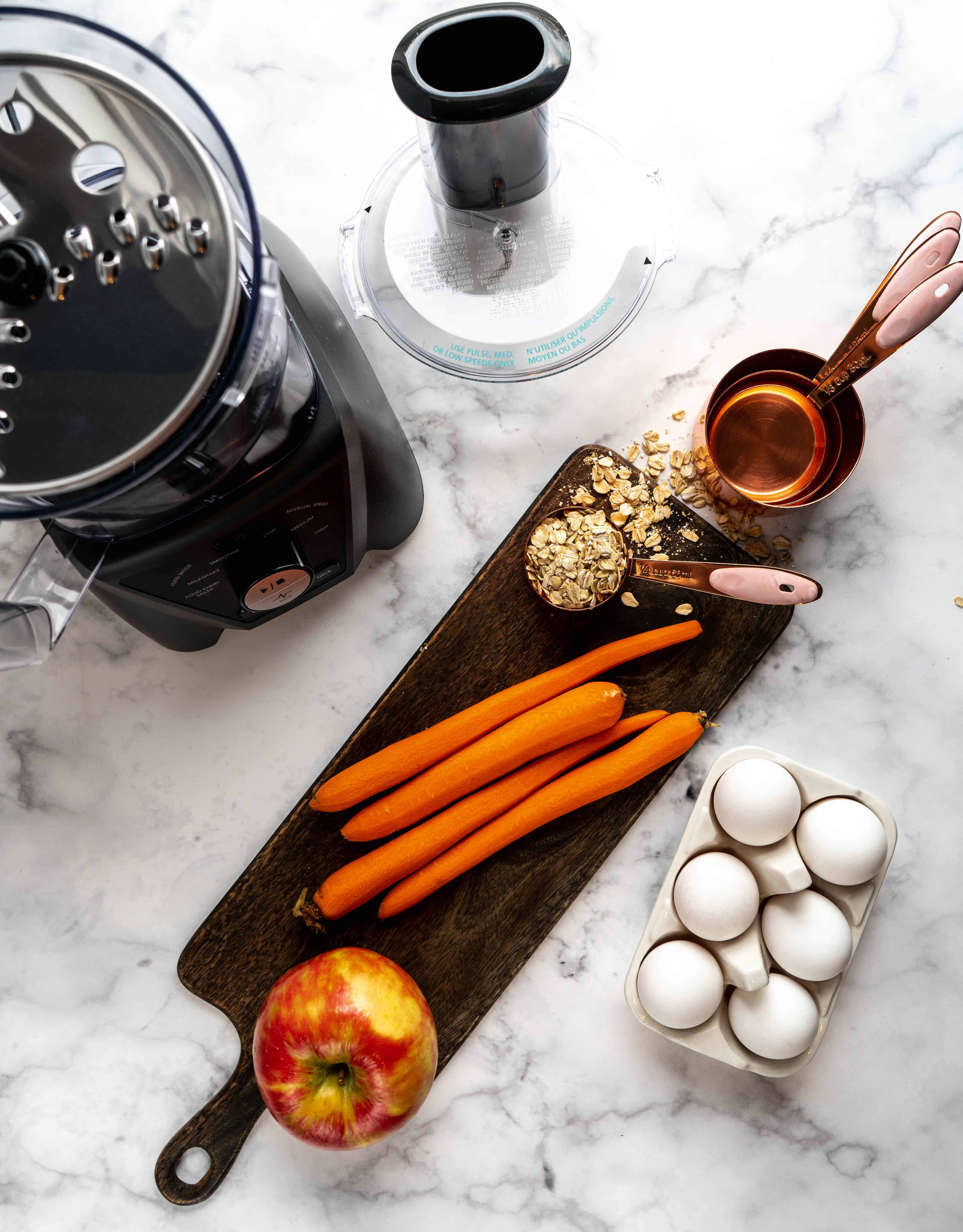 healthy carrot blender muffin ingredients
