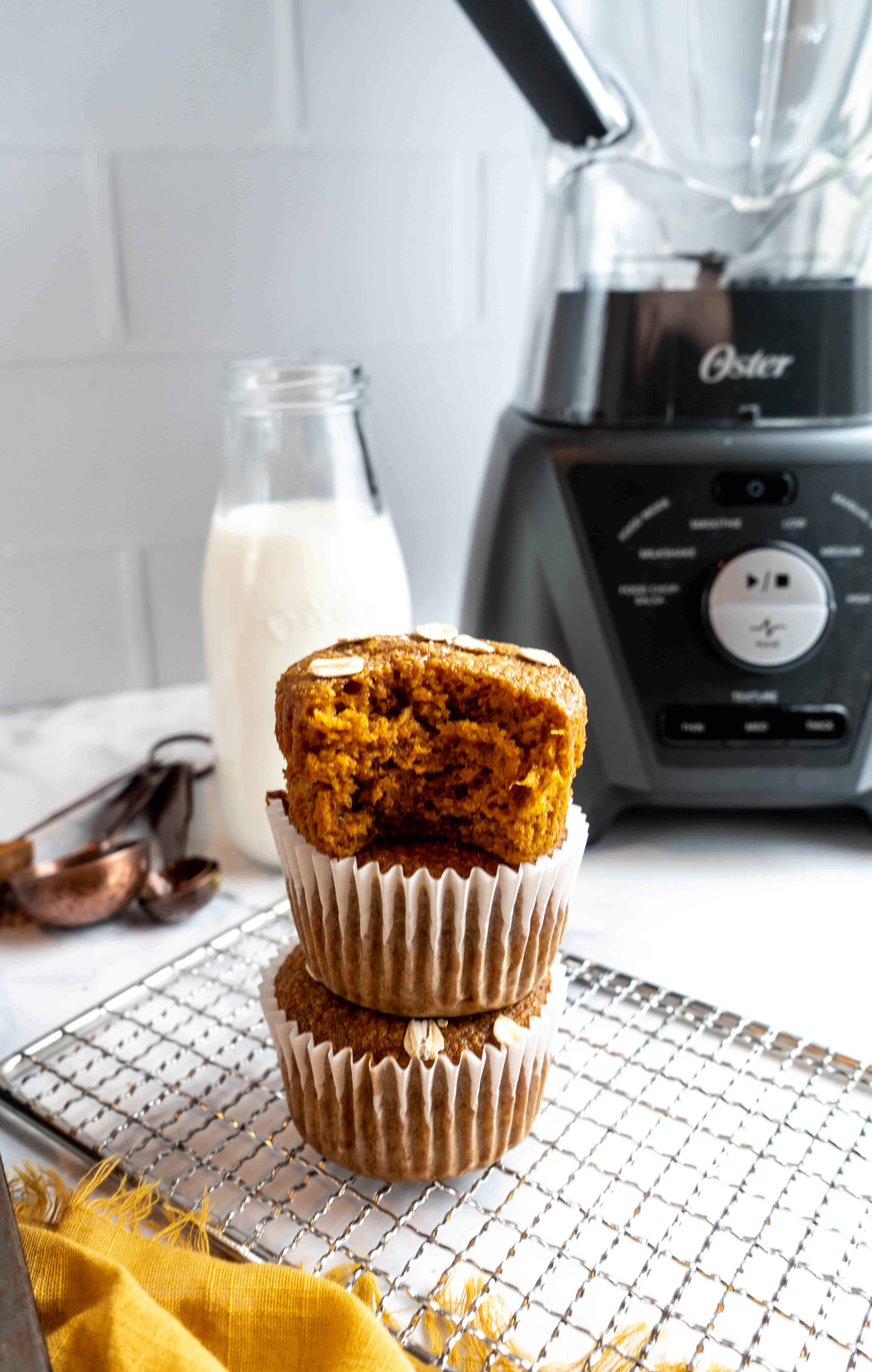 healthy carrot blender muffins stacked
