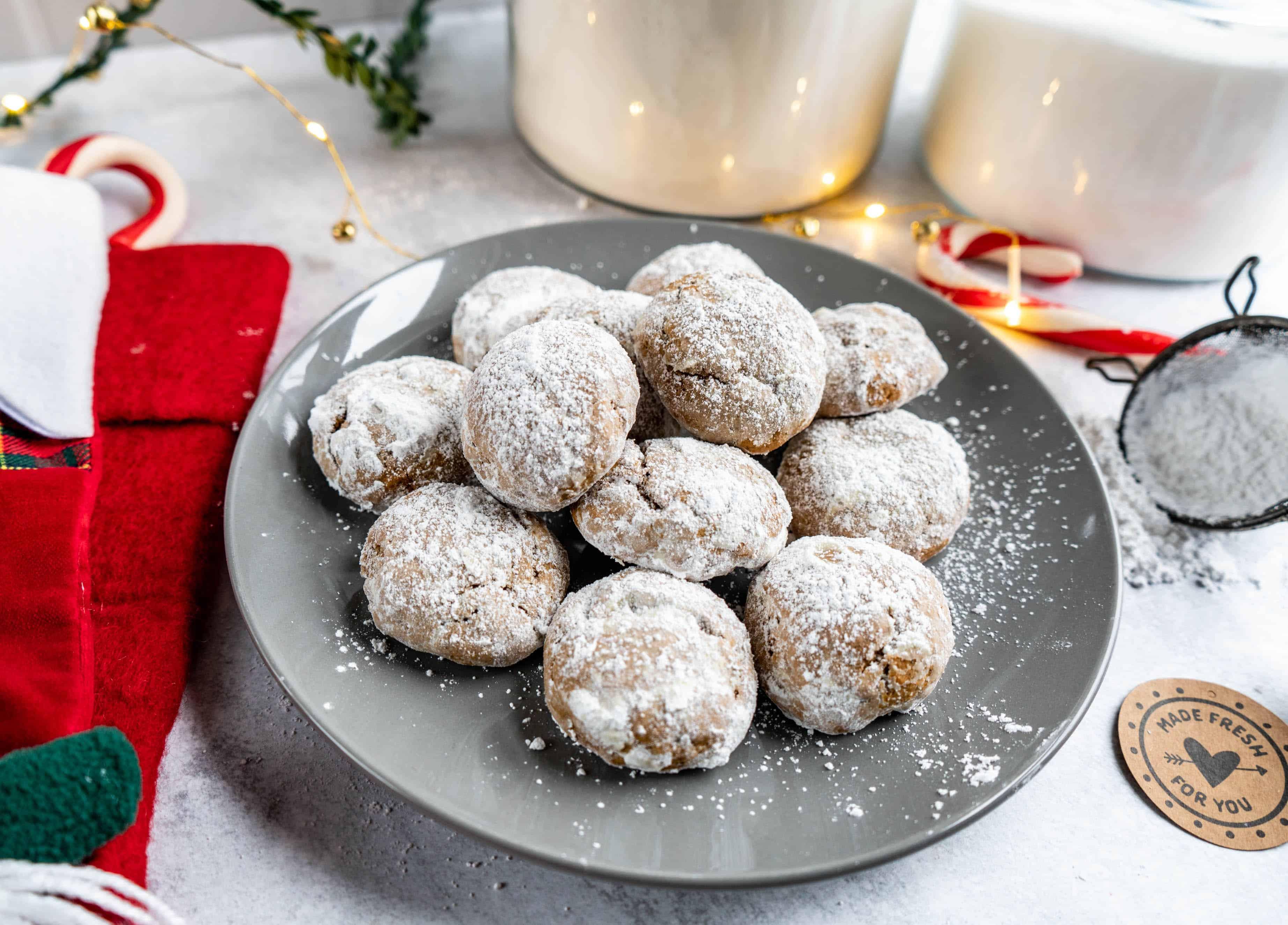 pfeffernusse cookies baked on plate