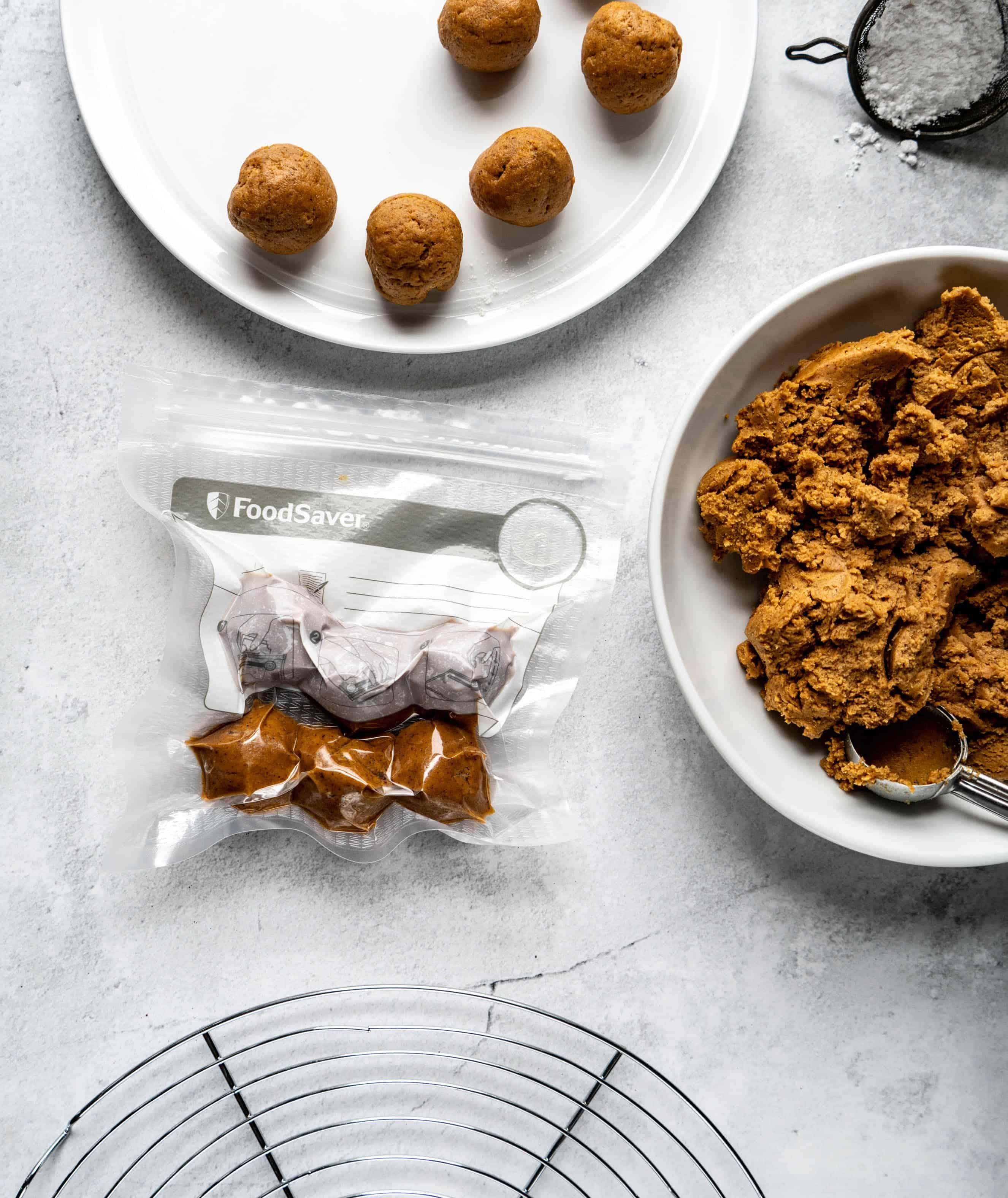 pfeffernusse cookie dough in foodsaver bag