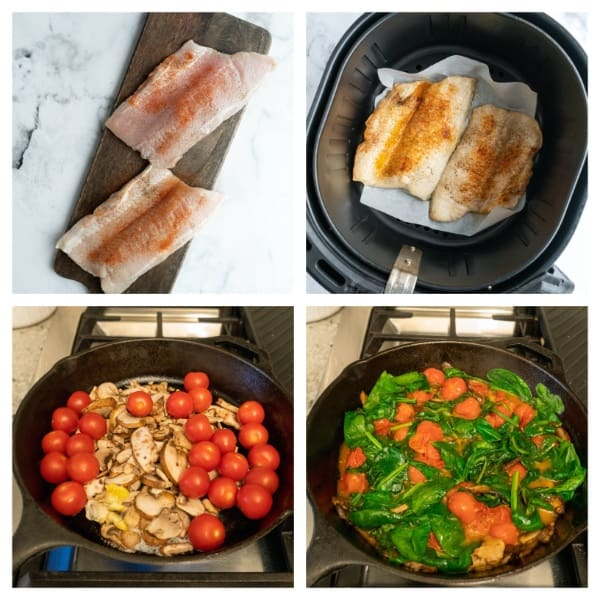 step by step process of cooking white fish and spinach and tomatoes