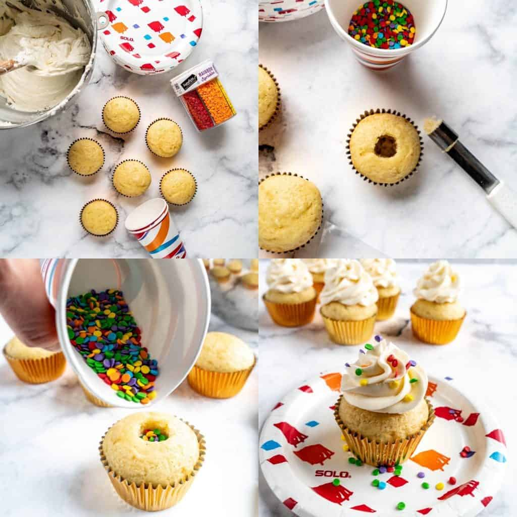 new year's eve confetti cupcake step by step