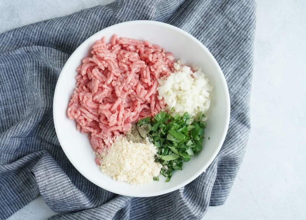 asian turkey meatball ingredients in a bowl