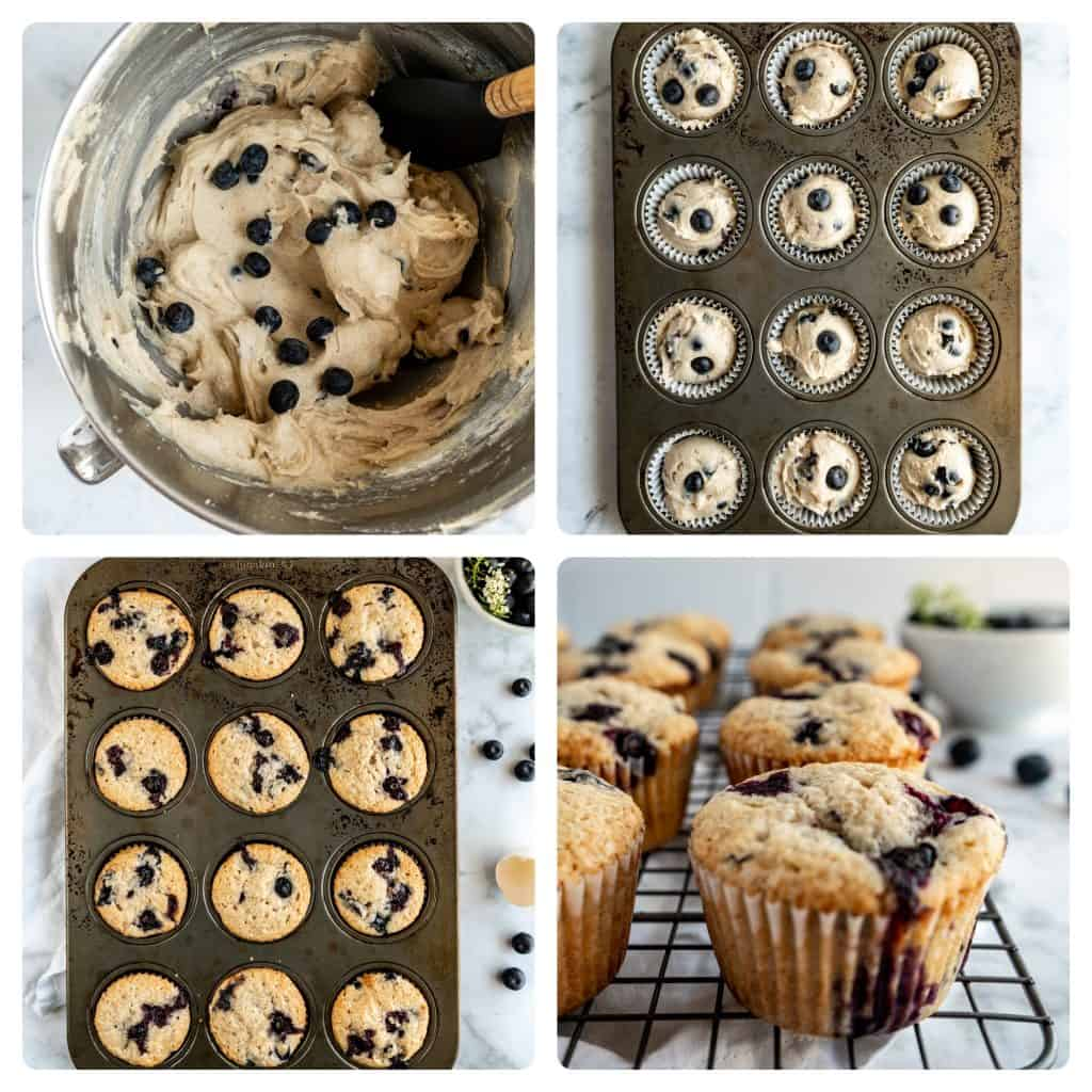 bakery style blueberry muffins step by step