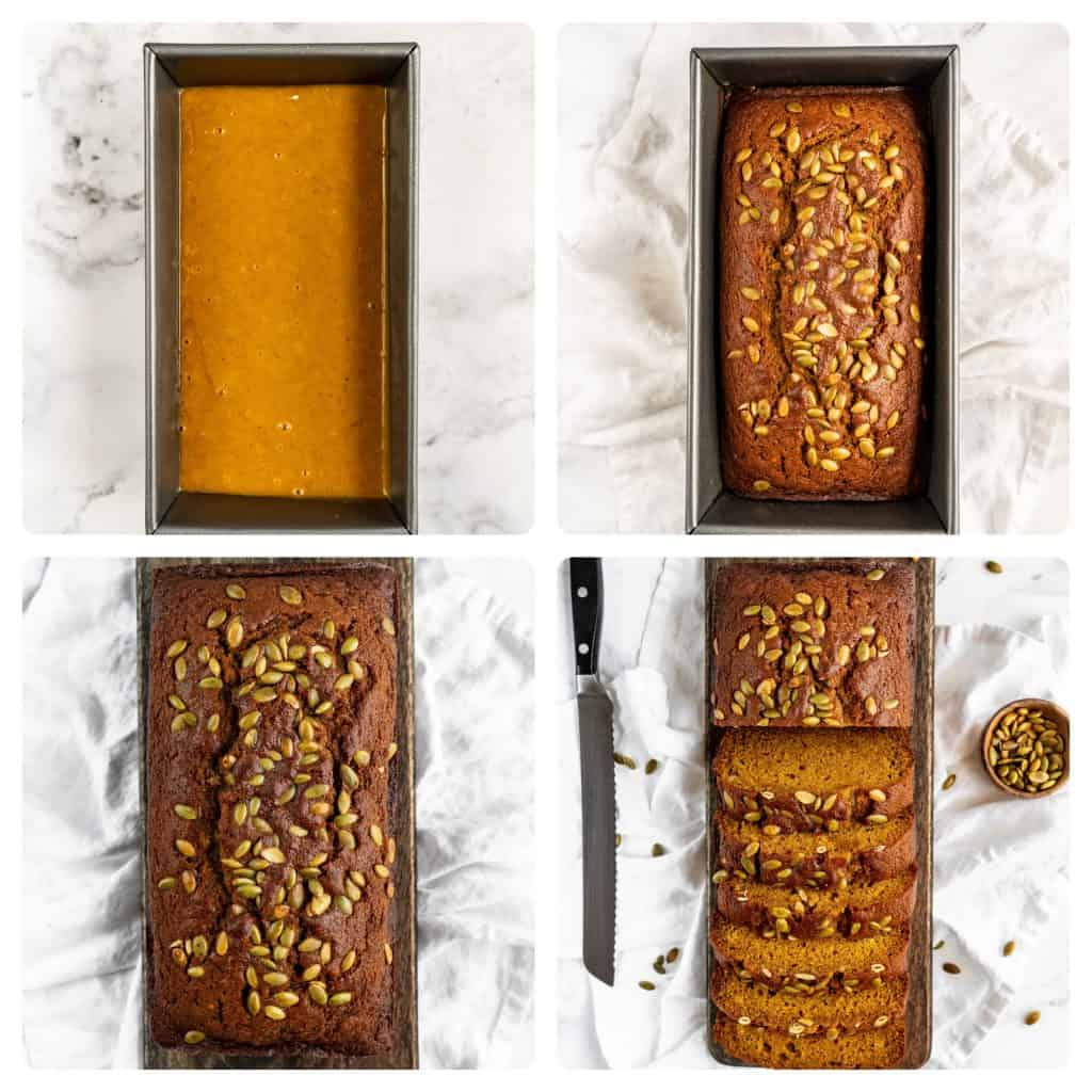 step by step process of making pumpkin bread