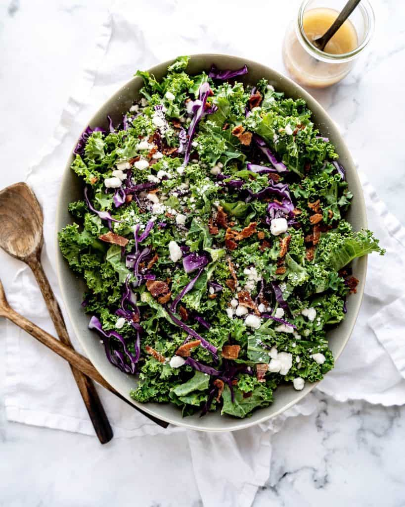 kale in a salad bowl with blue cheese
