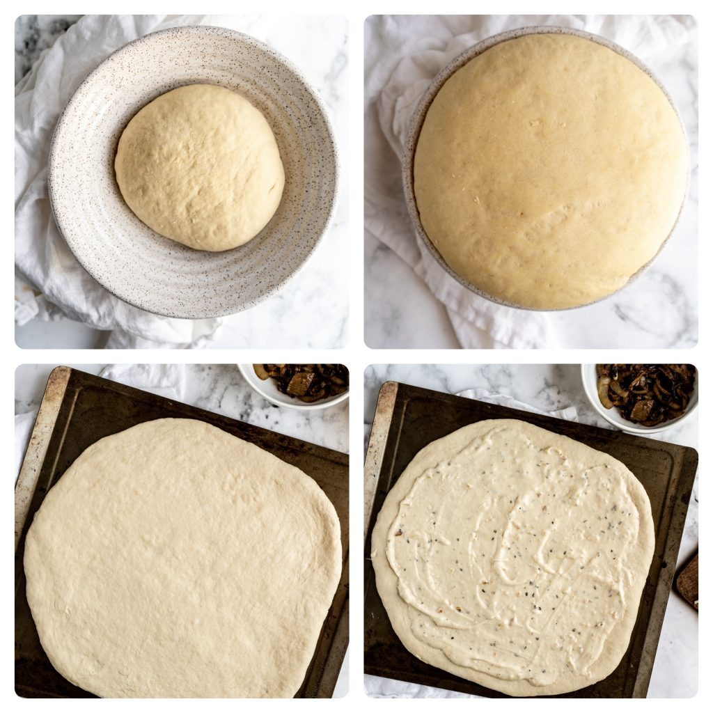 step by step process of pizza dough proofing and being rolled out