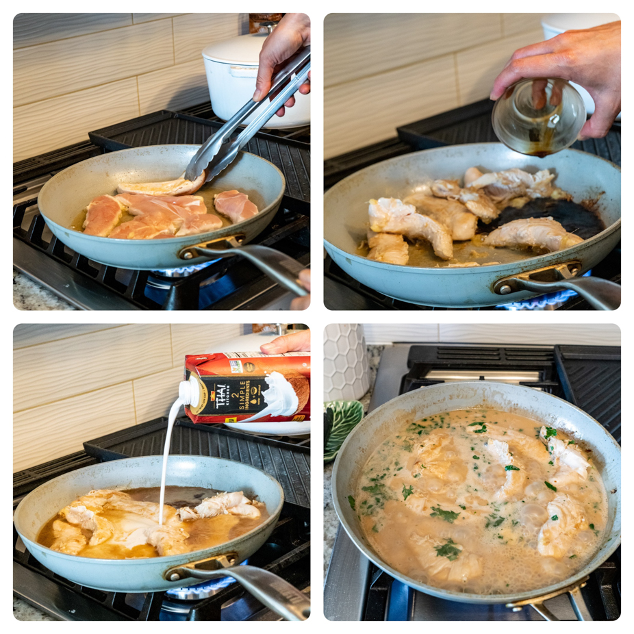 step by step process of making coconut lime chicken