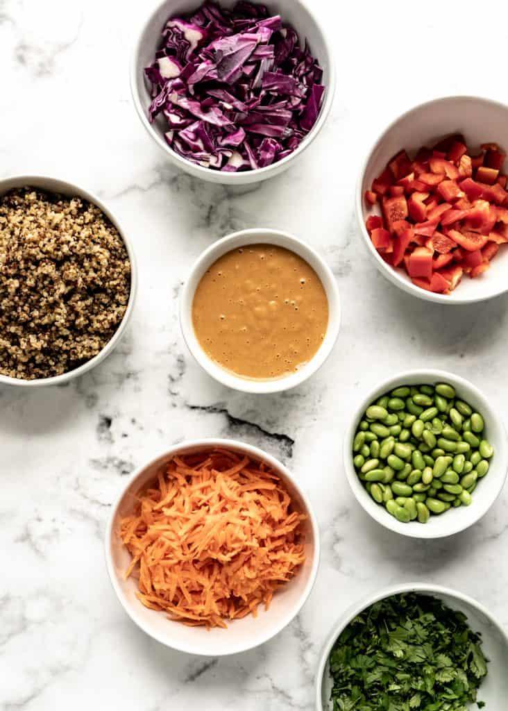edamame salad ingredients in bowls
